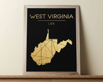 West Virginia Wall Art, West Virginia Poster, West Virginia Map, West Virginia State Sign, West Virginia Map Print, Geometric Art