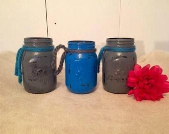 Set of 3 blue and gray Mason jars