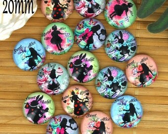 Set of 16 20mm glass cabochons, fairy tale Alice ZC28