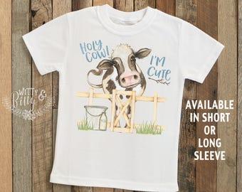 Holy Cow I'm Cute Kids Shirt, Farm Animal Tee, Cute Cow, Cute Boys Shirt, Cute Boys Tee, Boys Boho Shirt, Funny Kids Shirt - T365H