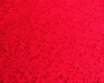 Fuchsia lycra lace fabric