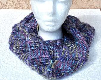 Hand knit Infinity Scarf / Hood in hand-dyed, variegated, colorful super-soft, washable Merino wool
