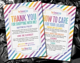 Thank You Cards, Free Fast Personalization, Home Office Approved, Happiness Policy, LLR Return Policy, Care Card, For Fashion Retailer