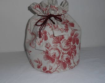 Toilet bag round French toile de Jouy Burgundy compartments inside with waterproof