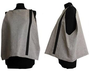 summer linen shift dress shirt with stripe