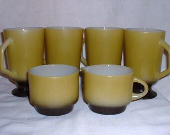 Fire King Avocado Green Irish Coffee Mugs with Creamer and Sugar Bowl / Anchor Hocking Irish Coffee Mugs / Vintage Irish Coffee Mugs