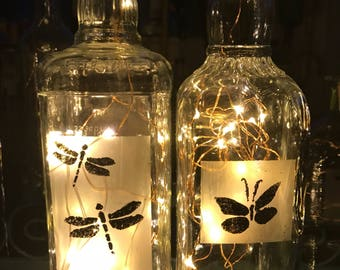 Dragonfly and Butterfly Bottle Lamp
