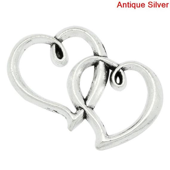 Pendant two hearts intertwined antique silver