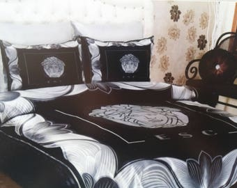 New 6pcs Black/silver Color Inspired Versace Bedding Set Bed Cover