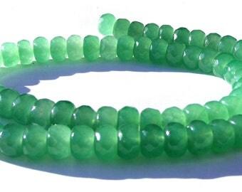 10 jades Abacus à facette de 8x5 mm perles pierre verte claire.