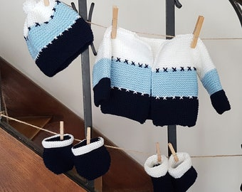 Mixed baby set: jacket + Hat + mittens + slippers