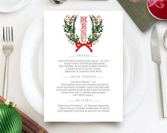 Winter Wreath Printable Menu Cards Winter Rustic Wedding Menu Holiday Dinner Menu Template Rehearsal Dinner Menu Christmas Menu Editable PDF