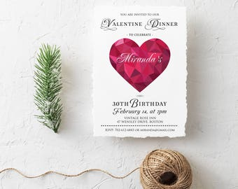 Valentines Dinner Birthday Invitation Ruby Heart 30th Birthday Invites Printable Valentines Adult Birthday Party Any Age Digital Invitations
