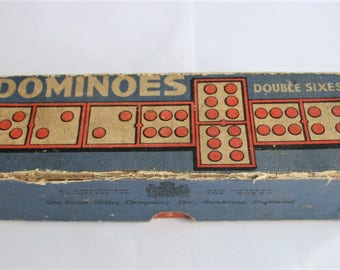 Vintage wooden dominoes by Chad Valley.  In original box.  Domino set.  Retro board game