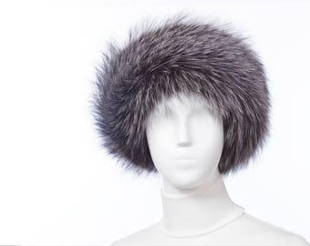 NATURAL Silver Fox Fur Headband
