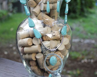 Turquoise and Silver Handmade Necklace and earings Set