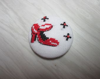 """Brooch """"Red shoes, stars"""""""