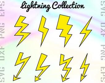 Lightning SVG Files - Thunder Clipart - Bolt Cricut Files - Lightning Dxf Files - Bolt Cut Files - Bolt Png - Svg, Dxf, Png, Eps Vectors
