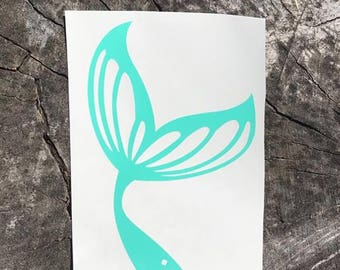 Mermaid tail decal, decal for car, laptop, coffee Tumbler, water bottle, mint green, pink, white, vinyl decal, window decal