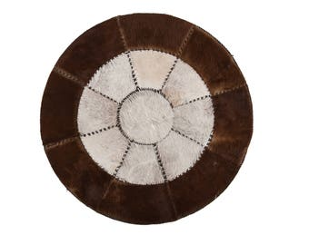 """Original Scandinavian Design Cowhide Patchwork Rug, Hair-On Genuine Leather, Hand Stitched, Hand Tanned, Superior Quality, 4'3"""" x 4'3"""""""
