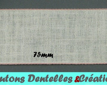 Band embroidery - band of linen - pink trim - 75mm (BAB-10)