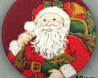 Button fabric - Father Christmas - Santa Claus - 50mm - (50-06