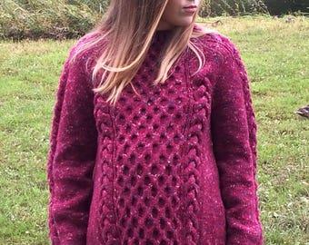 Woman warm sweater, tweed, oversized sweater,  braid sweater, women jumper, women knit sweater, wool knit sweater, women knitwear