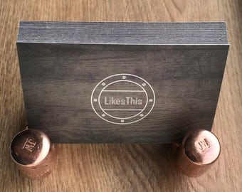 Industrial copper pipe business card holder, ideal for office desk