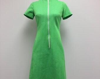 1960's Woman's Dress - Mock Neck Dress - Lime Green - Zipper Front - 60s Dress