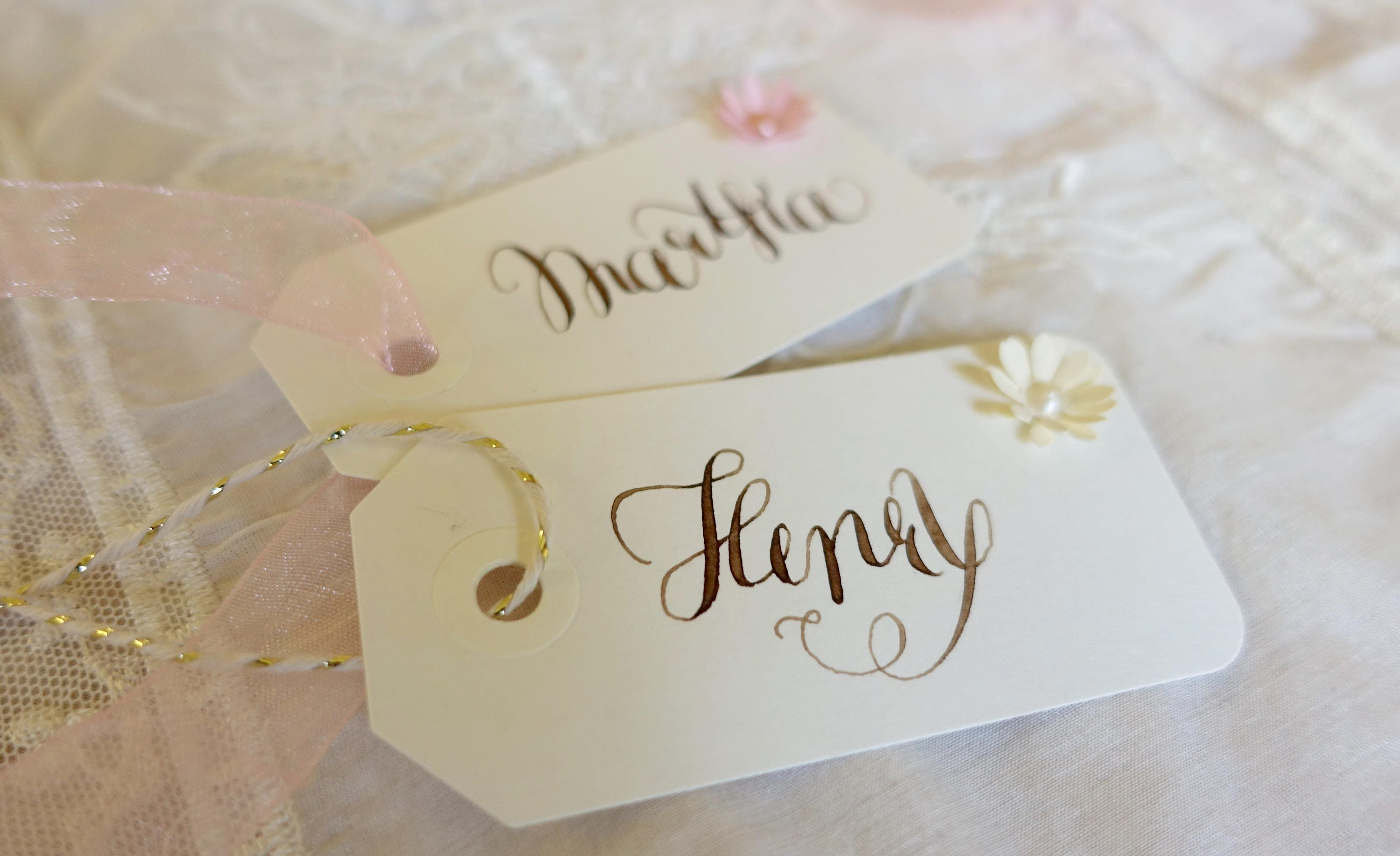 Modern name tags written with walnut ink - wedding - placecards ...