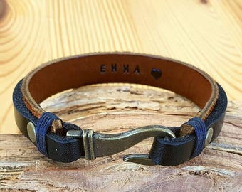 Gift for Boyfriend Personalized Gift for Men Leather Bracelet for Man Bracelet Leather Hook Bracelet Engraved Men gift
