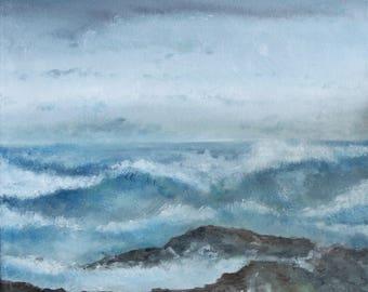 Rocky Sea Coast - Oil on Canvas 30cm x 30cm