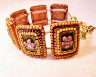 """Primrose"" enameled copper metal bracelet"