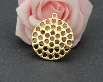 6 charms circle openwork brass 28 x 25 mm