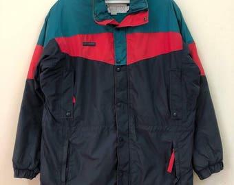 Rare! Vintage Columbia Multicolour Light Jacket Waterproof Jacket Large Size with Hoodies