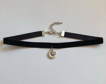 Moon And Heart Choker Necklace