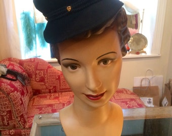 Original vintage 1930's/1940's black felt tilt topper hat with gold studs