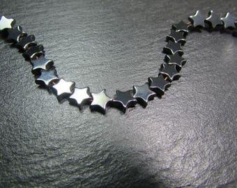 set of 10 beads Hematite stars