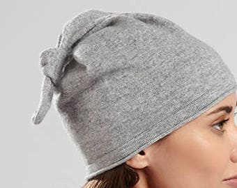 Heather Grey Cashmere Beanie Hat