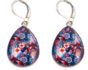 Cabochon drop earrings blue night * flowers red *.