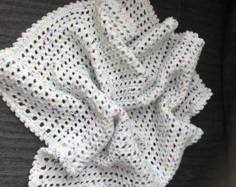Crocheted baby pram blanket