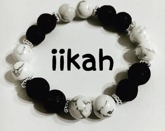 Howlite lava stone diffuser bracelet Howlite diffuser  healing bracelet, Howlite lava stone healing bracelet, Lava stone healing bracelet,