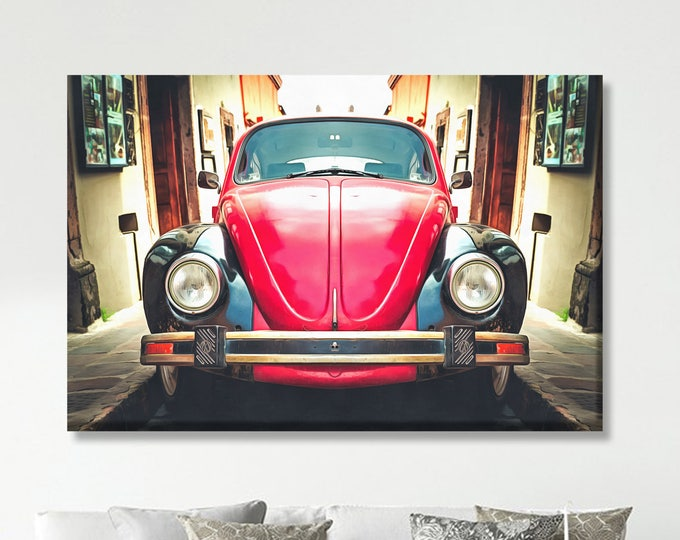 Beetle car print, Car print, Canvas art, Large art print, Interior decor, Wall decor, Print, Gift for her, Wall Art, Wall decor, Gift