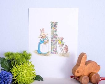 Hand illustrated nursery print- Letter I
