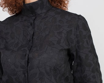 Blouse, Black floral devore design, wrinkled fabric, puffed sleeves, high neck, Nacar button