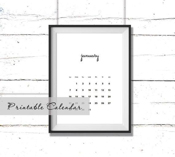 Minimalist Calendar Printable : Printable minimalist calendar wall months