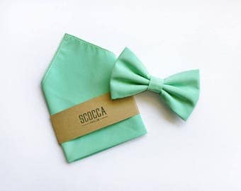 Bow tie and handkerchief green mint, cotton, for men, ceremony, wedding