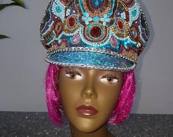 Blue Military Hat officer hat festival hat Burning man hat Bespoke hat Unique hat Embellished hat Beaded Hat Festival Cap Festival headwear