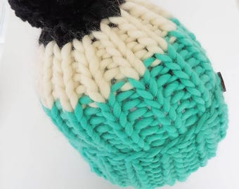 Chunky Handknitted hat in Aqua.Cream.Black