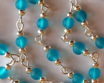 55cm of chain/beads 4mm turquoise frosted glass
